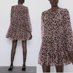 Zara floral print dress with buttons
